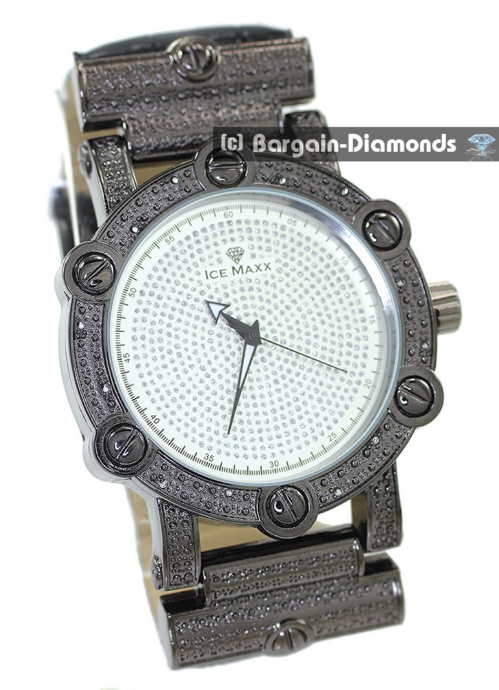 MLTBJ Mens Dress Watch Retro Screwhead Diamond Accent Bling Silver Tone Dial  50mm Leather Strap at Sears.com
