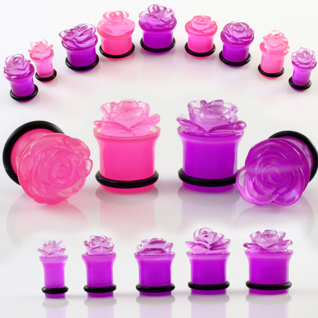 Pair-of-Pink-Acrylic-Carved-Rose-Flower-Plugs-Ear-Gauges-2G-0G-00G-7-16-1-2