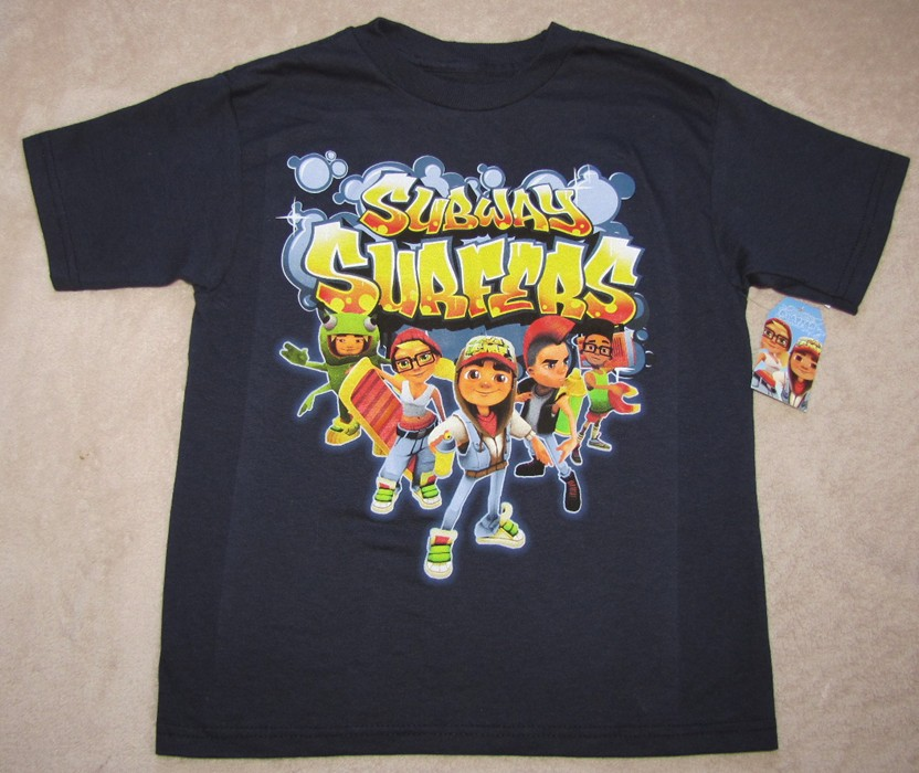 Subway Surfers Video Game Characters Navy s s Tee T Shirt Sz 6 7