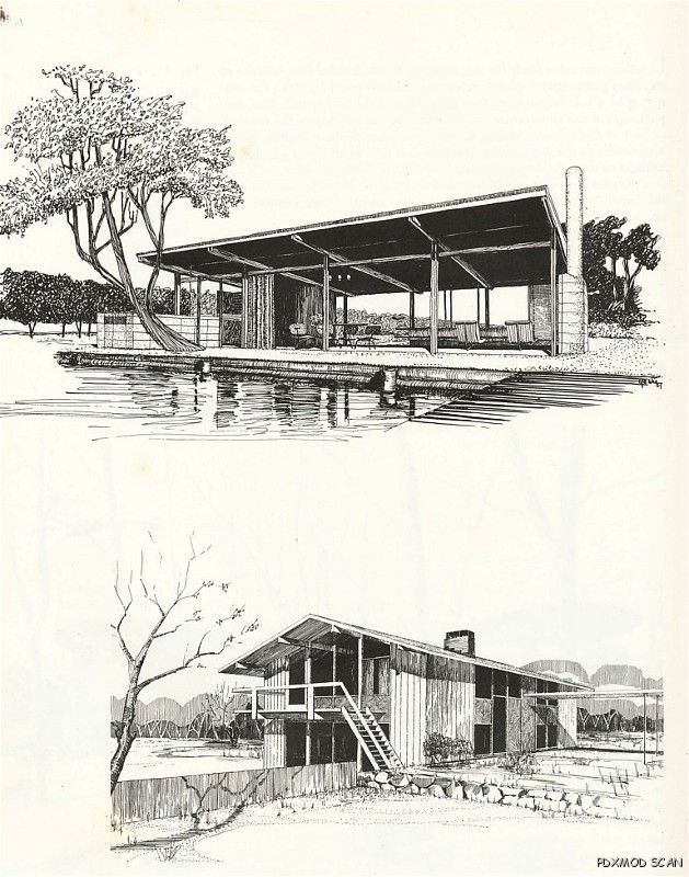 Mid Century Modern Architecture Drawing Rendering