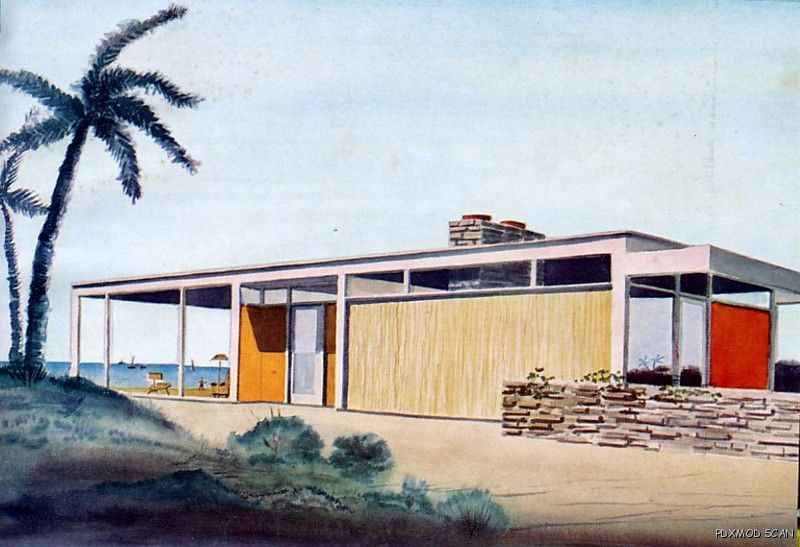 mid century modern architecture drawing rendering ebay