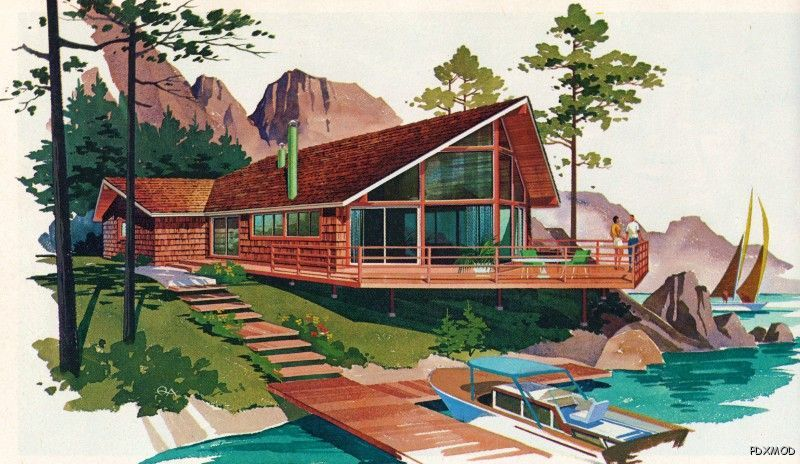Modern vacation homes atomic a frames chalets eames era for Home planner inc