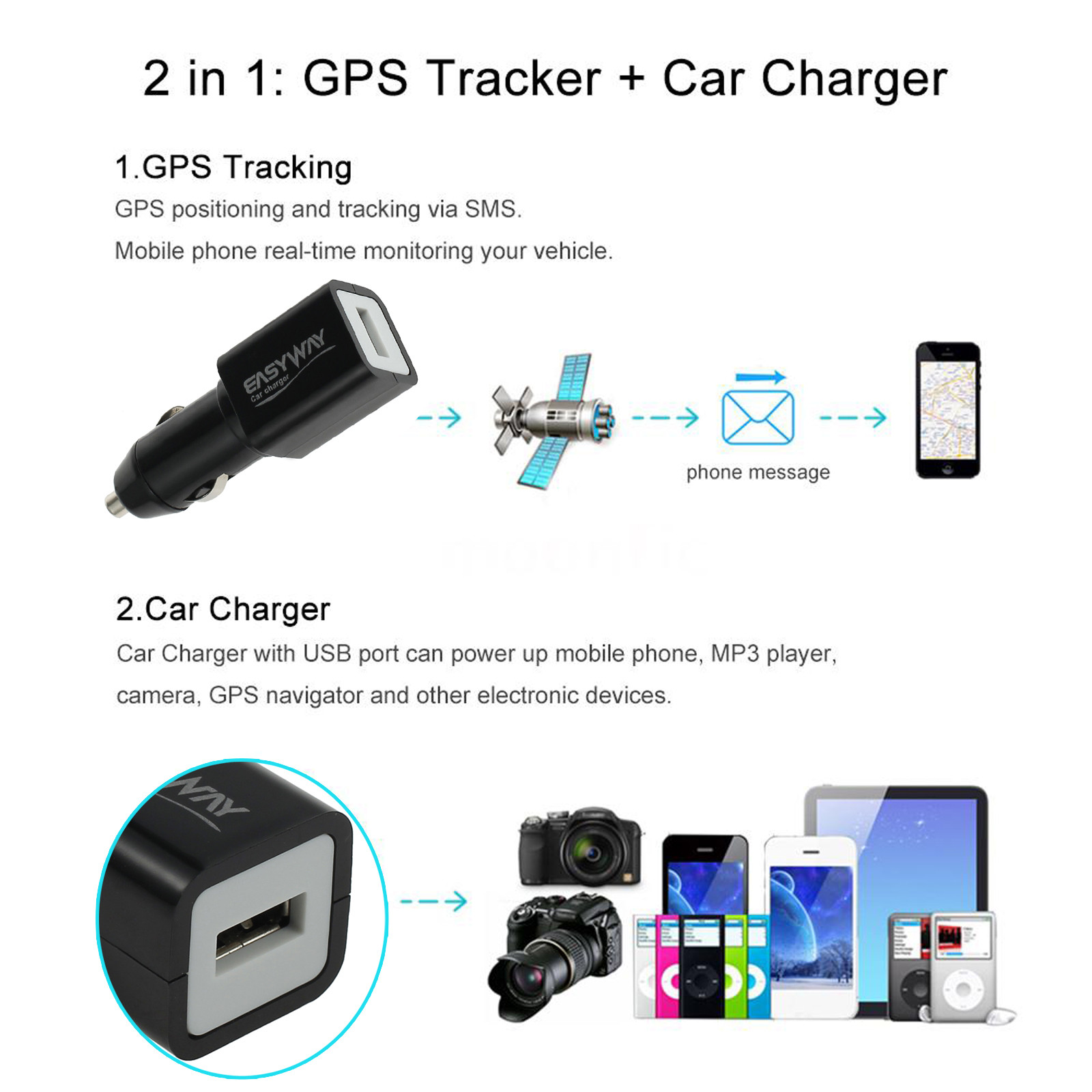 Car Charger With Usb Port Can Power Up Mobile Phone Mp Player Camera Gps Navigator And Other Similar Electronic Devices