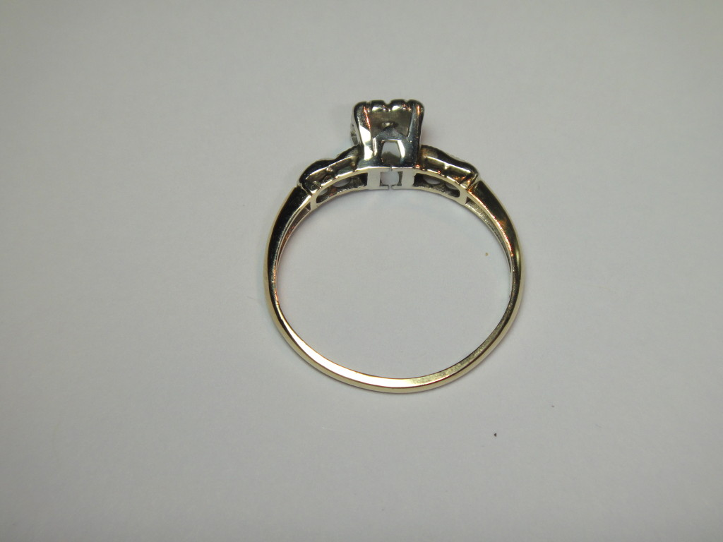 ESTATE ANTIQUE WEDDING ENGAGEMENT 1920 s DIAMOND RING 14K GOLD N R