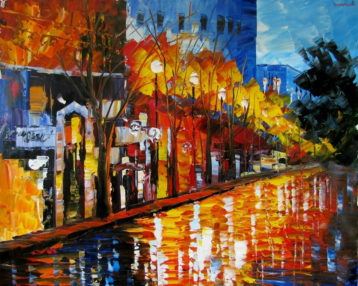 Afremov early in the morning city original oil painting on canvas