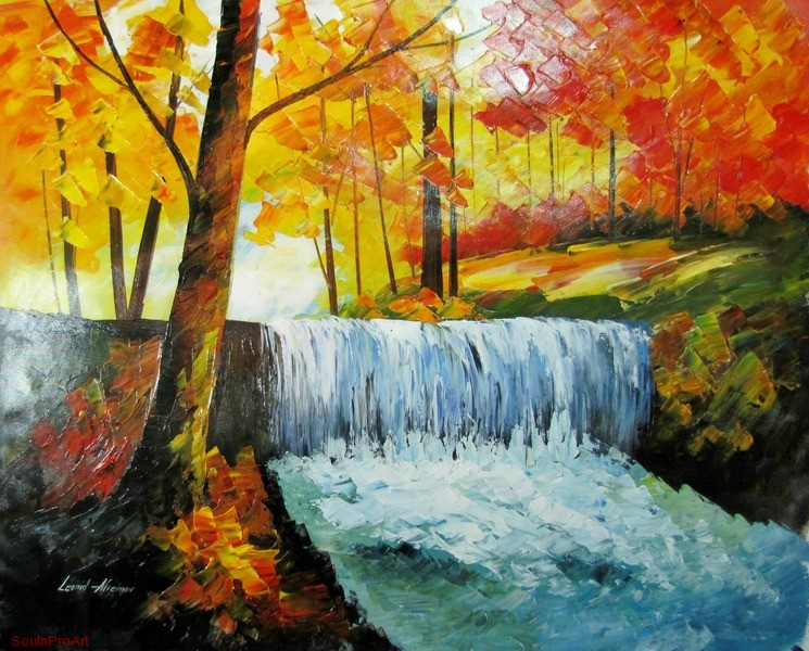 leonid afremov waterfalls original oil painting on