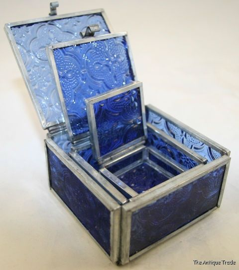 Glass Nesting Boxes : Set of stained blue glass nesting trinket boxes ebay