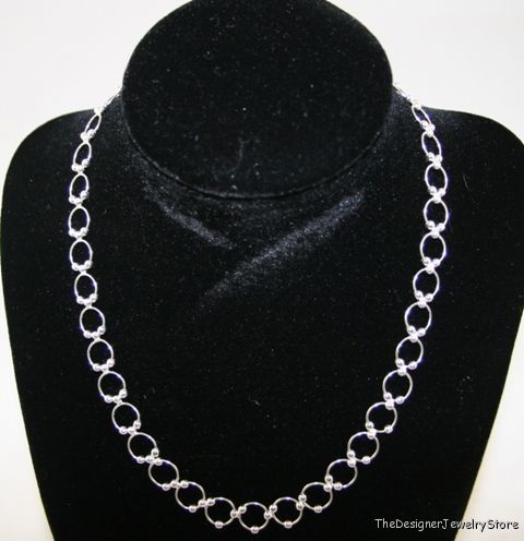 Sterling Silver 9.3mm beaded round chain 16 inches je22