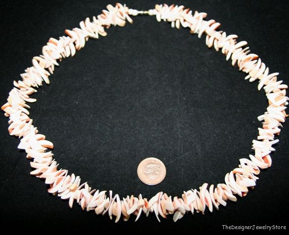 Vintage Jewelry cutt natural pink shell Necklace je43