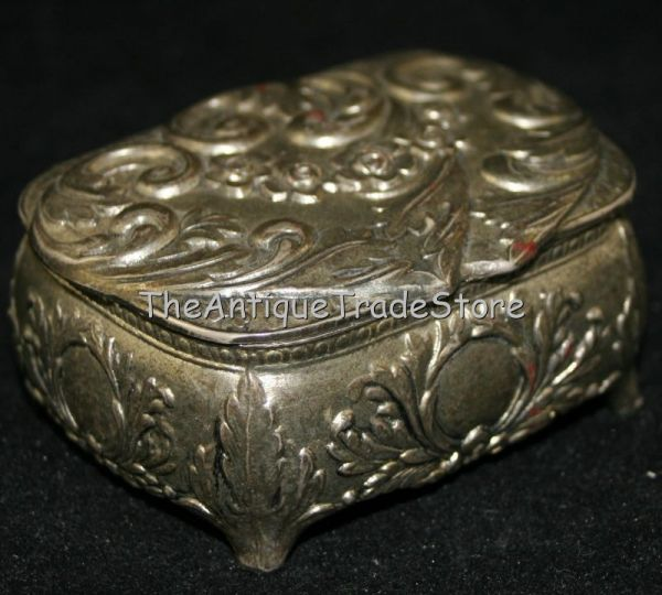 Vintage cast white metal Japan made pin  / tack box