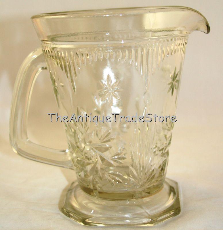 Antique 30s white pressed glass Art Deco jug