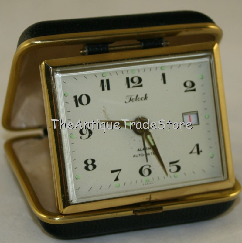 Vintage 70s Wind Up mechanical Telock travel alarm clock