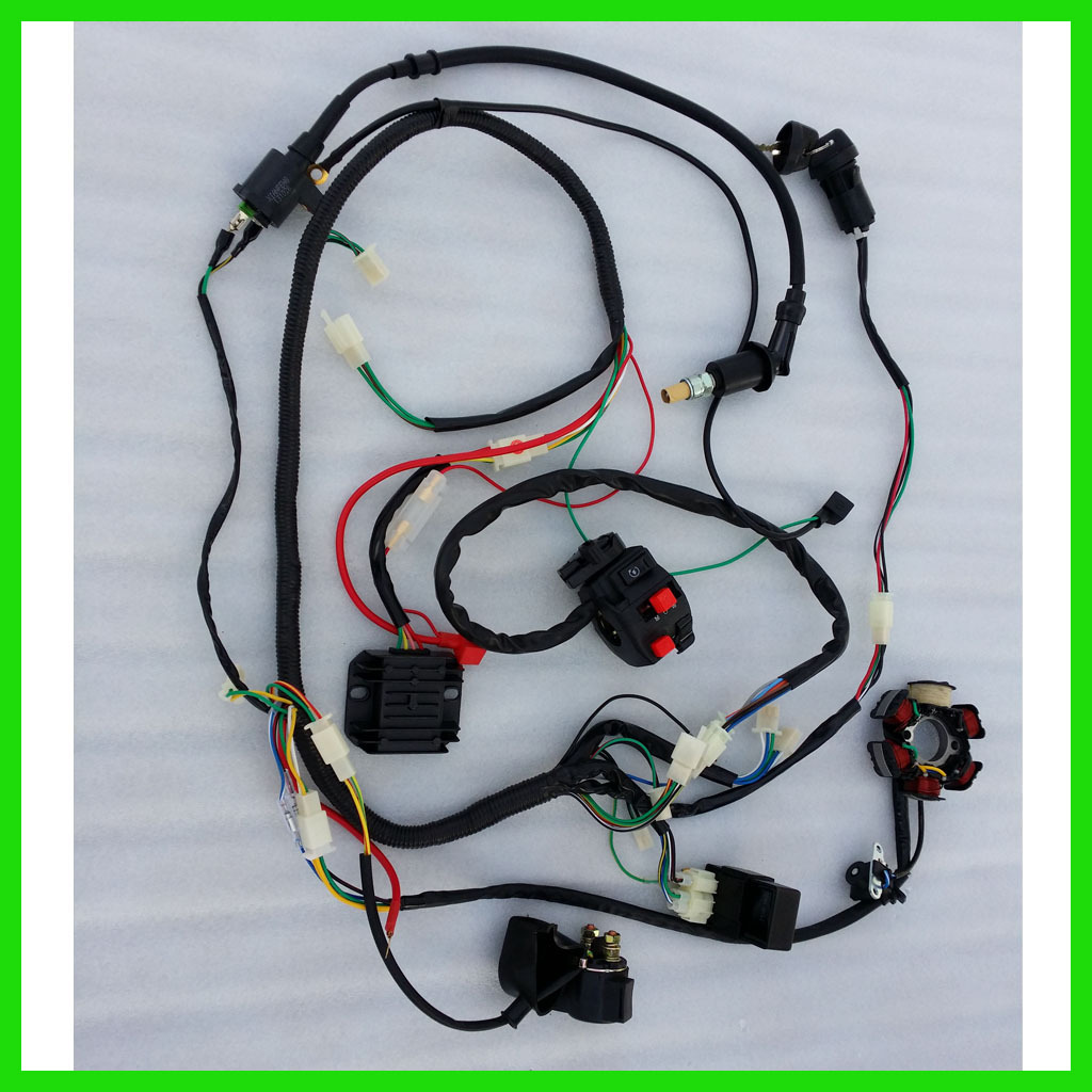 complete electric start engine wiring harness loom cc quad wire loom key solenoid magneto coil regulator cdi for 150cc atv quad us shipping