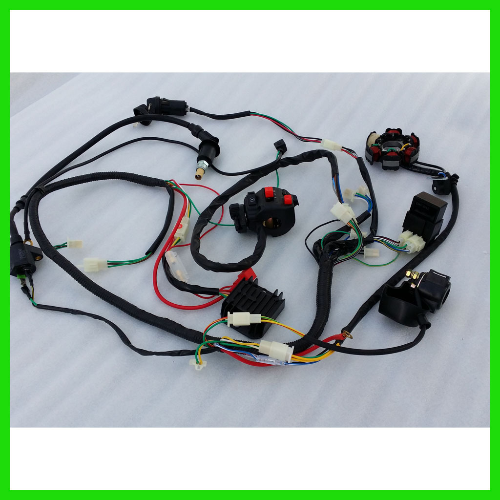 quality wire loom harness solenoid magneto coil regulator cdi gy6 brand new 8 pieces electrics for 150 250cc quad bike