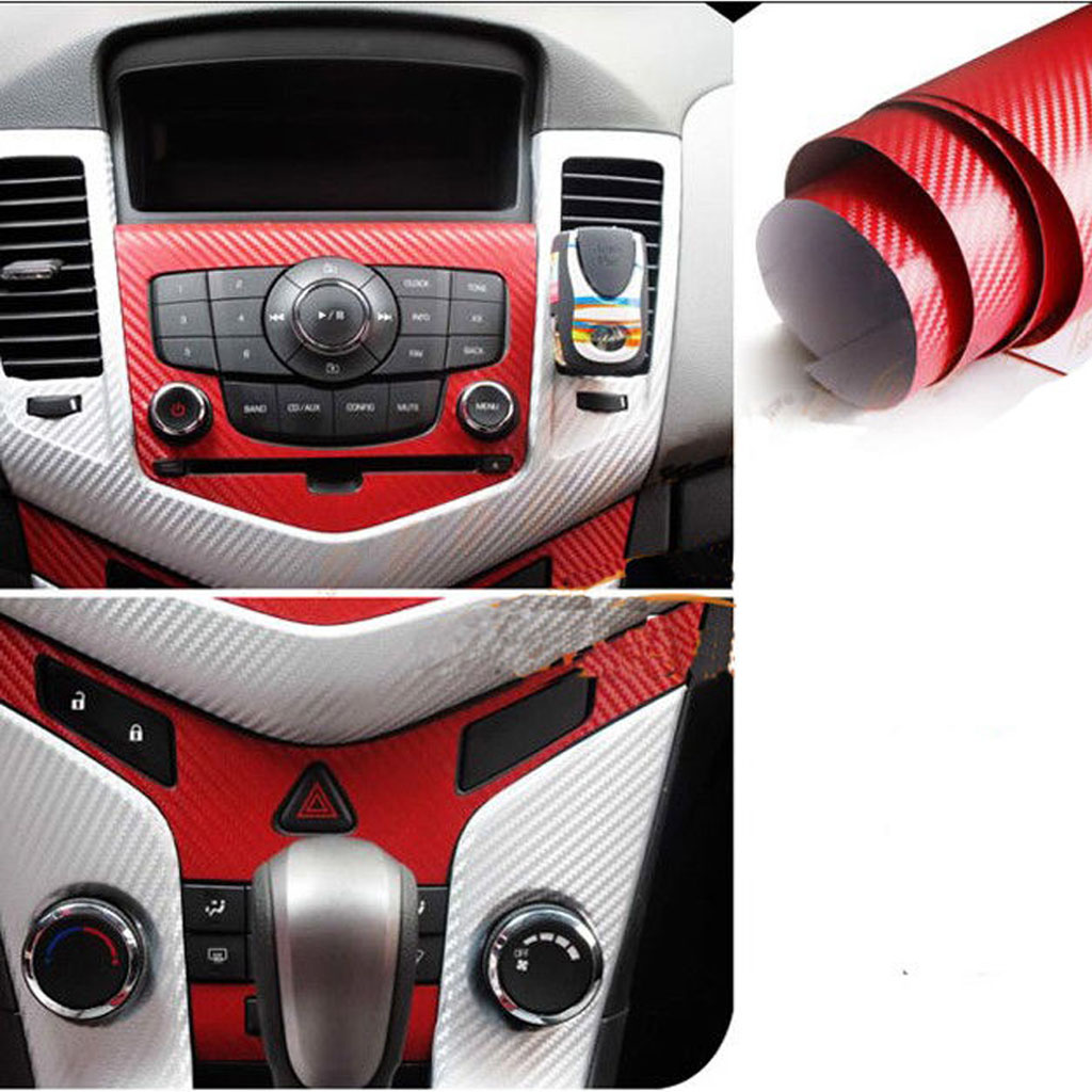 Car carbon sticker design - 3m Car Sticker Gloss Carbon Fiber Vinyl Vehicle Wrap Film Sheet 24 X30 Red