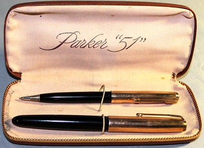 12K Gold Filled Parker 51 Black Fountain Pen w/Matching Mechanical Pencil