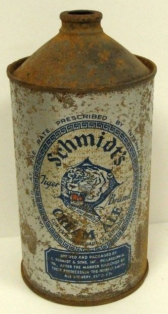 Schmits's Ale Tiger 1 Qt Cone Top Beer CAn 1930's