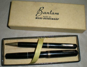 1930s Bantam Wahl Eversharp Fountain Pen-Pencil Set Bulb Filled