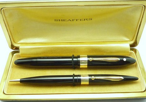 1930's Sheaffer Balance Autograph Set Oversize Pen/Pencil w/Gold Bands
