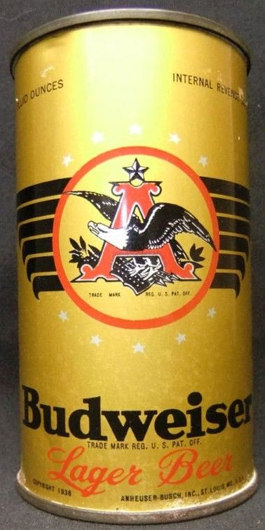Budweiser Lager Beer 1936 IRTP Flat Top Beer Can