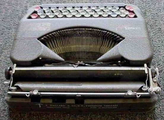 Hermes Baby Jubilee Portable Typewriter Back 1940s