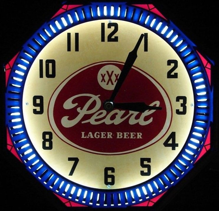 1940's Pearl Beer Neon Spinner Clock - Texas