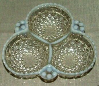 1950 Fenton Opalescent Hobnail 3 Part Relish Dish