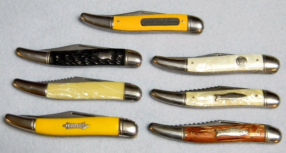 Vintage 50s & 60s Imperial USA Folding Fish Knife Lot