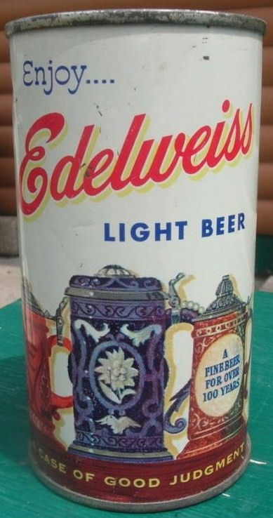 1950's Straight Steel Edelweiss Light Flat Top Beer Can