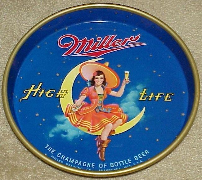 1950s Miller Lady on Moon Beer Tray