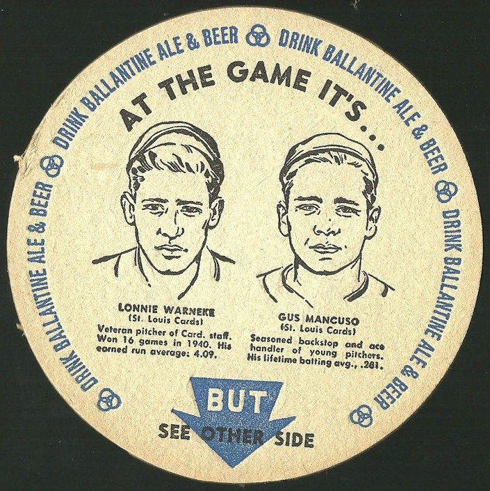 1962 Lonnie Warneke-Gus Mancusco Cardinals Ballantine Ale