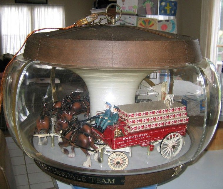1970s Budweiser Clydesdale Rotating Carousel Lamp