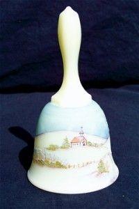 Fenton Princess House Signed Custard Glass Bell 1980