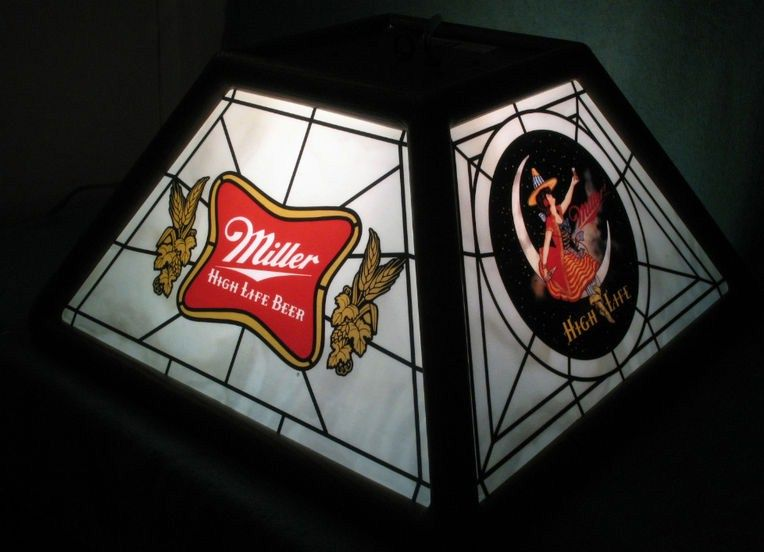 1980s Miller High Life Bar Pool Table Light Beer Sign