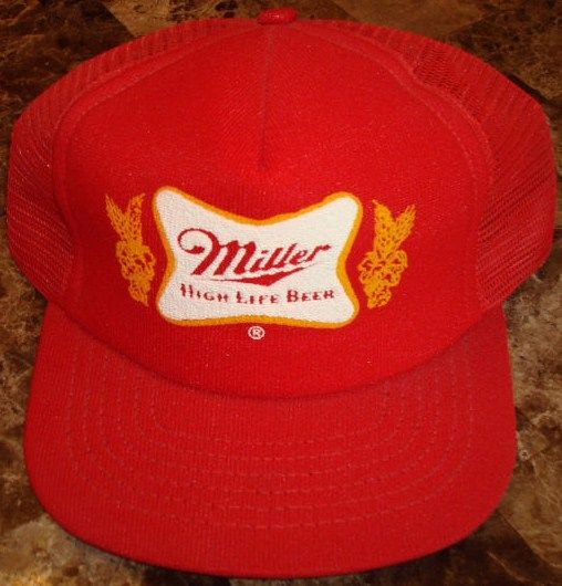 1990's Miller Beer Truckers Hat/Cap-Red Snapback