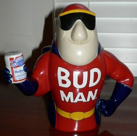 1993 Bud Man Stein Holding Beer Can