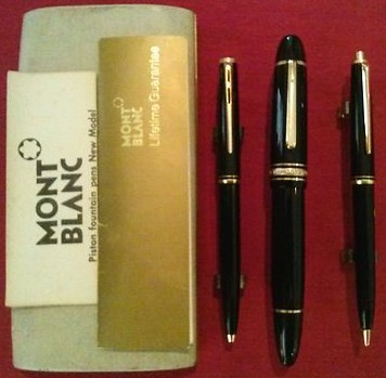 251 mechanical pencil/281 black&gold trim click ballpoint pen/4810 14K 585 fountain pen