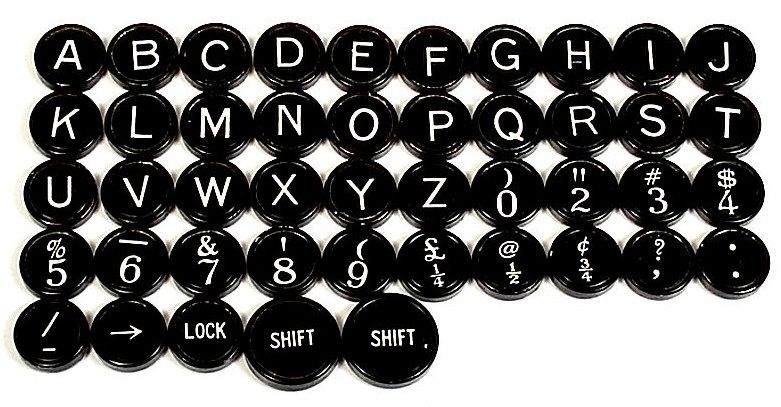 Remington Black Typewriter Keys w Flat Backs
