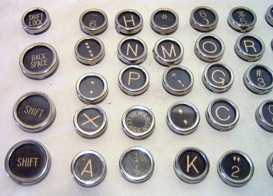 Vintage Royal Glass Top Typewriter Keys w Flat Bottoms