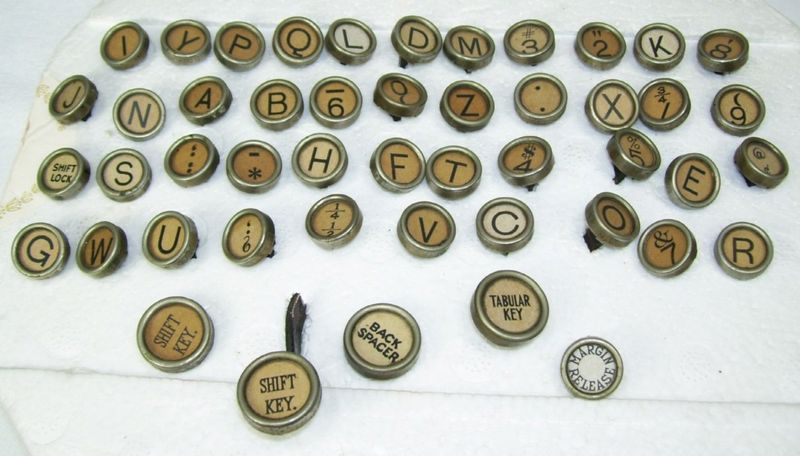 48 Vintage Royal 10 Typewriter Keys for Craft Jewelry