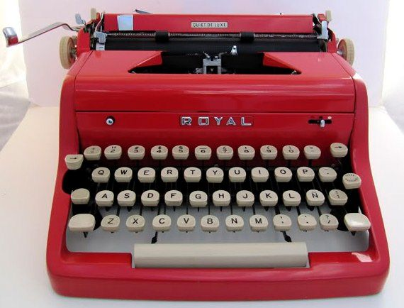50's Vintage Red Royal Quiet De Luxe Typewriter