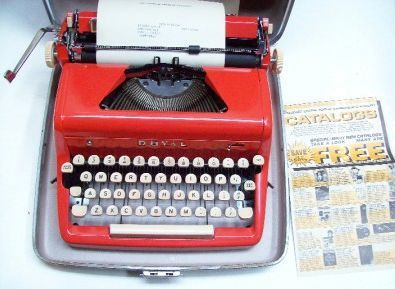 Vintage 50s Red Royal Quiet DeLuxe Typewriter w/Booklet