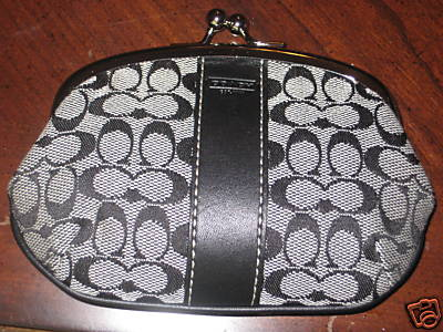 Signature framed coin purse black-white