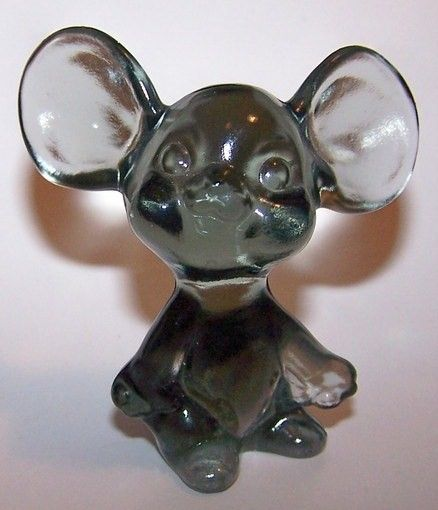 Fenton Clear Gray Glass Mouse Figurine 1980's