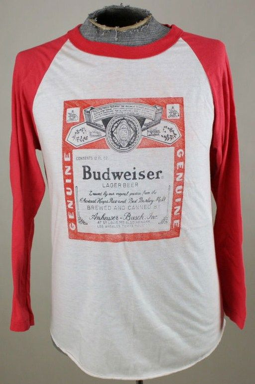 Classic 80s Budweiser Beer Thin Raglan Party Tee