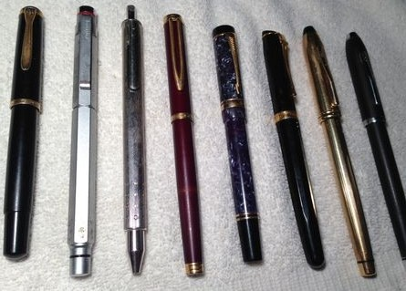 Eight Pen Lot/Pelikan-Rotring-Lamy-Waterman-Caran d Ache- Cross Vintage Rollerball