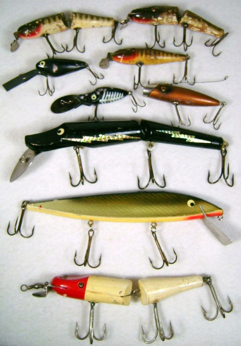 9 Vintage Wood Fishing Lures Lot Large 11 inch Musky Heddon