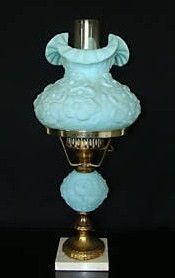 Antique Lamp Limited Edition Fenton Poppy Motif 1920-1930's