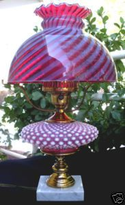 Antique swirl Hobnail Cranberry Parlor Lamp