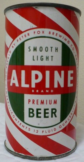 Alpine Red Candy Stripe Flat Top Beer Can